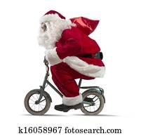 Santa claus on the bike