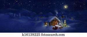 Santa with presents, Christmas tree