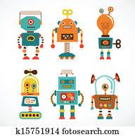 Set of vintage robot icons