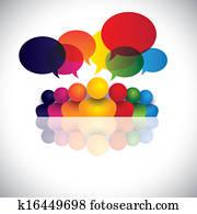soziales, medien, kommunikation, oder, büropersonal, versammlung, oder, kinder, reden., dass, vektorgrafik, auch, vertritt, leute, conference,, soziales, medien, wechselwirkung, &, engagement,, kindern, talking,, angestellter, diskussionen
