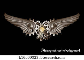 Steampunk wings vector background
