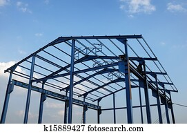 Steel frame of a new industrial building