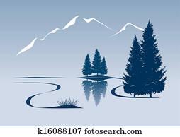 stilisiert, abbildung, ausstellung, a, fluss, und, berglandschaft