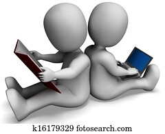 Students Studying Shows Book Or Online Learning
