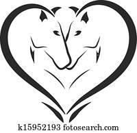 Stylized horses in love logo
