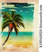 Summer beach and palm