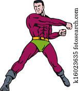 Super Hero Punching Retro