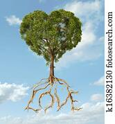 Tree with foliage with the shape of a heart and roots as text Love. On light blue sky with fluffy clouds.
