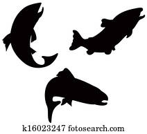 Trout Fish Silhouette Retro