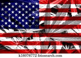USA Flag on cannabis background