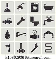 Vector black plumbing icons set