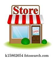 vektor, abbildung, von, kaufmannsladen, symbol