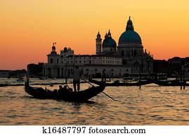 Venice, Italy. Gondola on Grand Canal at sunset