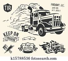 Vintage truck delivery theme