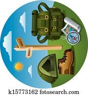 wandern, tourismus, symbol