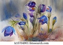 Watercolor painting of the beautiful spring flowers.
