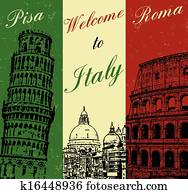 Welcome to Italy vintage poster