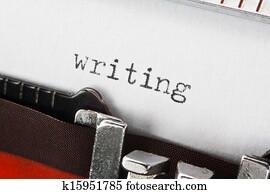 writing text on retro typewriter