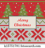 Xmas ornaments - seamless knitted background