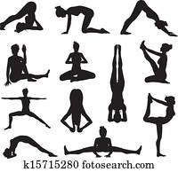 Yoga or pilates poses silhouettes