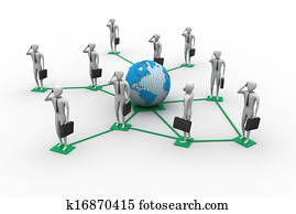 3d image of virtual men on global c