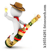 3d white people champagne rodeo