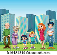 A family with the grandparents in front of the building
