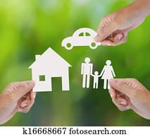 a paper home, car, family