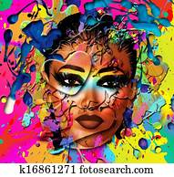 Abstract wet paint of womans face