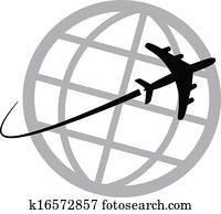 Airplane icon around the world