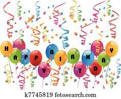 alles gute geburtstag, party, mit, luftballone