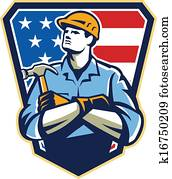 American Builder Carpenter Hammer Crest Retro