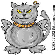 Clipart of , angry, cartoons, cat, feline, hackles, kitten ...