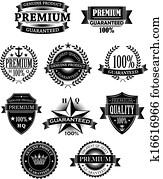 banner, und, abzeichen, für, garantie, design