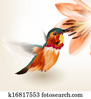Beautiful vector realistic humming bird with lily