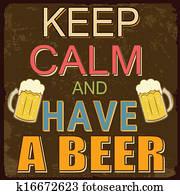 behalten, gelassen, und, haben, a, bier, plakat