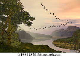 Birds Flying Over Landscape