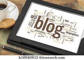 blog word cloud on digital tablet