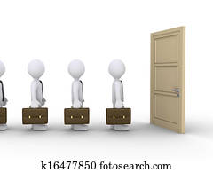 Businessmen are waiting for the door to open