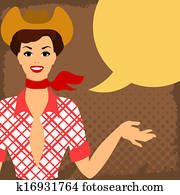 Card with beautiful pin up cowgirl 1950s style says something.