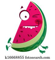 Cartoon pink watermelon fruit character making a crazy face