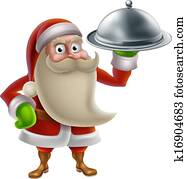 clipart of cartoon santa claus holding pizza k41117315 search clip