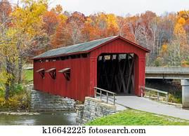 Cataract Covered Bridge and Fall Foliage