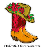Christmas Cowboy boots and western hat with holiday decoration