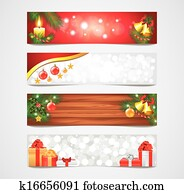 Christmas holidays vector banners set