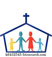 Church and family logo vector