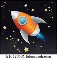 Comic cartoon rocket space ship