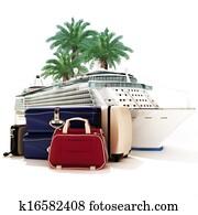 Cruise ship with luggage