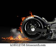 Custom motorcycle burnout