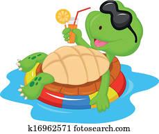 Cute turtle cartoon on inflatable r